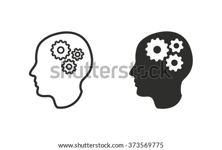 Brain  icon  on white background. Vector illustration. - stock vector