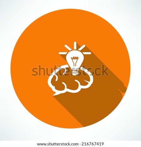 Brain Icon with Light Bulb