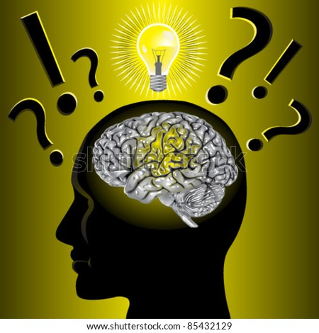 Brain idea and problem solving - stock vector