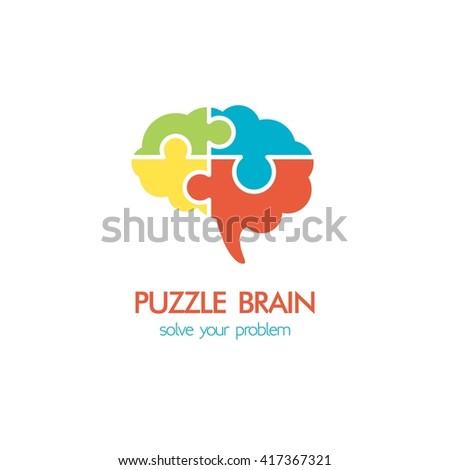 Brain idea design, badges, symbol, concept and logo - stock vector
