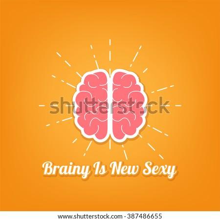 Brain Illustration. Brainy is new sexy - stock vector