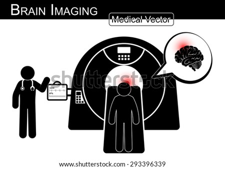 Brain Imaging .  Patient lie on CT scanner for diagnosis of brain disease ( Hemorrhagic or Ischemic stroke , Brain tumor , Brain abscess , etc ) ( Black & white / Flat design )( health care concept ) - stock vector