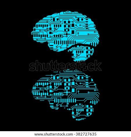 brain in circuit board style Vector Illustration - stock vector