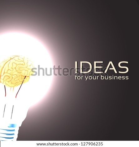 Brain in Lamp idea for a business - stock vector