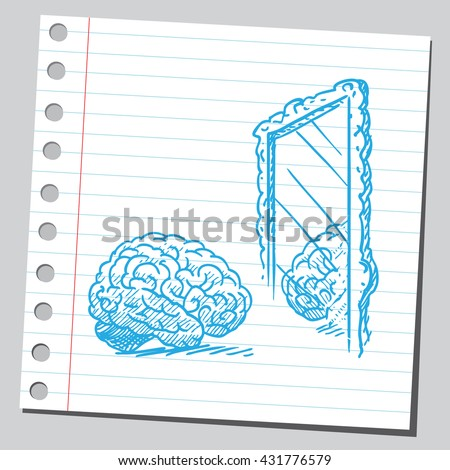 Brain in mirror - stock vector