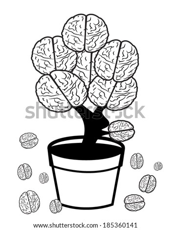brain in pot on white background - stock vector