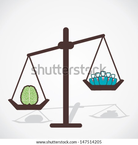 brain is more powerful than man power concept vector - stock vector