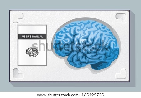 Brain Kit. Box containing a brain and its user manual in a polystyrene packaging