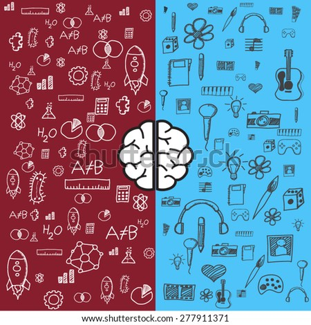 Brain left and right creative - stock vector