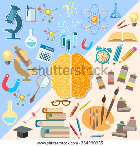 Brain left and right hemisphere power mind art and creativity analyst and thinking education vector concept - stock vector