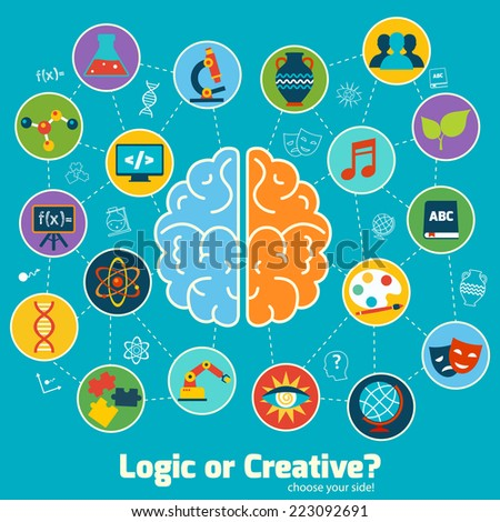 Brain left logic and right creative hemispheres concept with science icons set vector illustration - stock vector