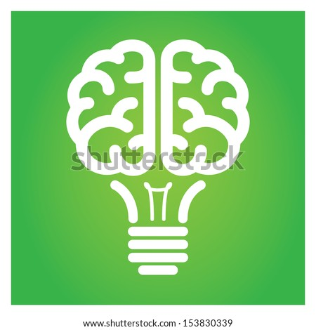 Brain light bulb green icon vector illustration.  - stock vector