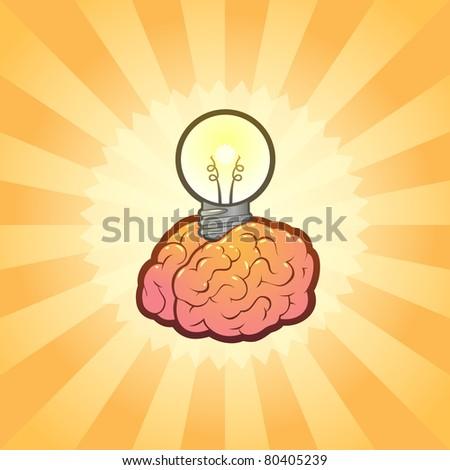 Brain Light bulb Idea Inspiration with Brilliant Background, Stylish Vector Illustration - stock vector
