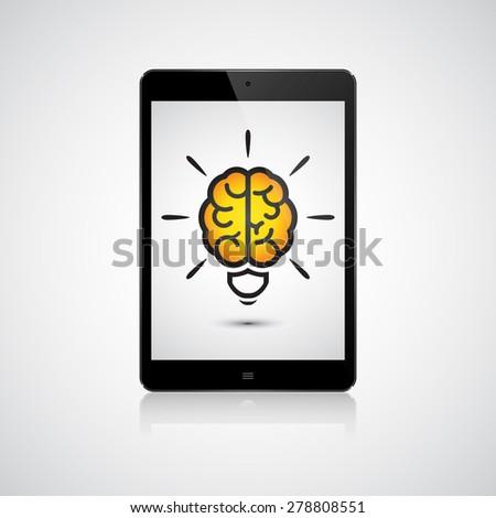 Brain light bulb on the tablet. Idea concept - stock vector