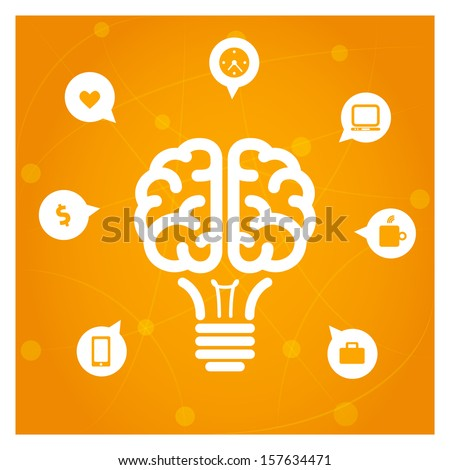 Brain light bulb with icons concept illustration   - stock vector