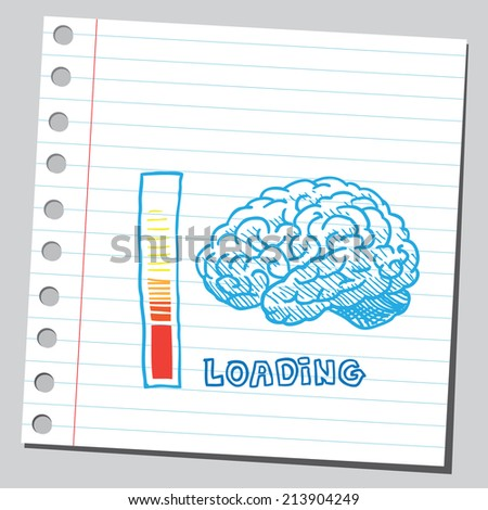 Brain loading process - stock vector