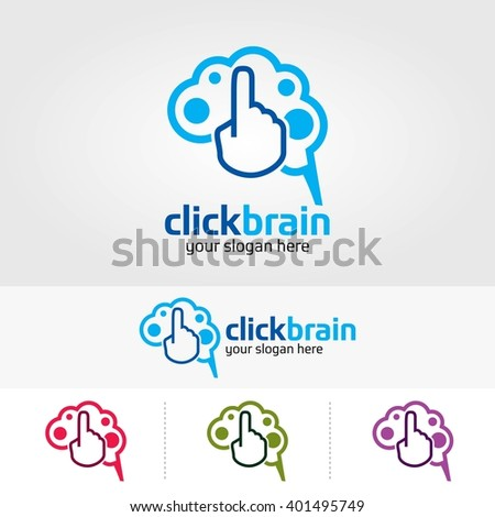 brain logo design template.Click Brain - stock vector