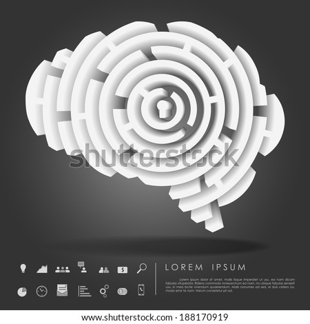 brain maze 3d with business icon vector - stock vector