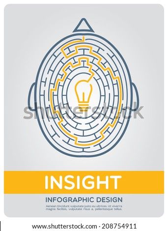 Brain maze. The path to insight. Image of the brain in the style of infographic expressing intricate way to insight - stock vector