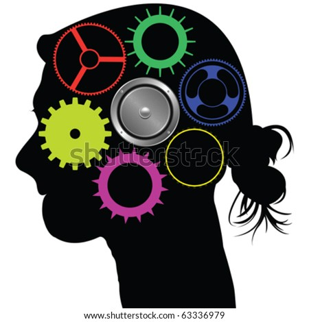 brain mechanism, abstract vector art illustration - stock vector