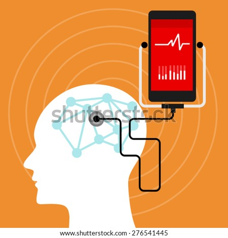 brain mental health neuro medical monitoring - stock vector