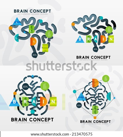 Brain minimal line style infographic banner design, modern colors and flat elements. Business presentation template - stock vector