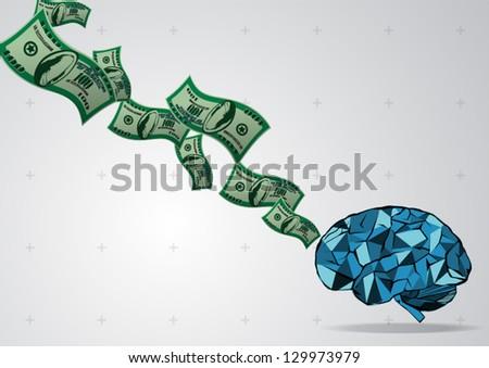 brain money - stock vector