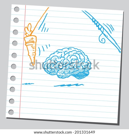 Brain motivation with carrot  - stock vector