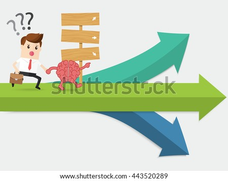 brain navigation businessman running at confused crossroad - stock vector