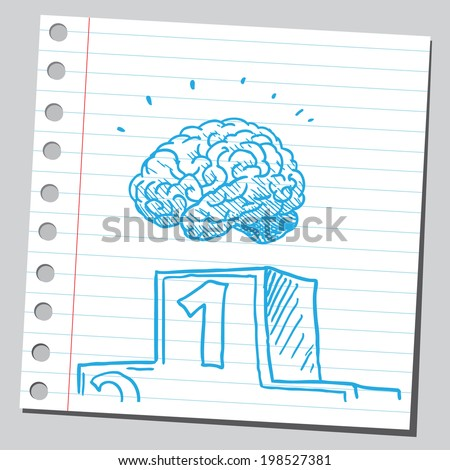 Brain number one - stock vector