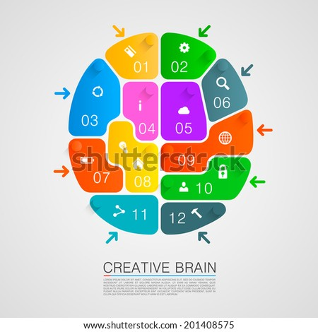 Brain of puzzles with workers. Vector illustration - stock vector