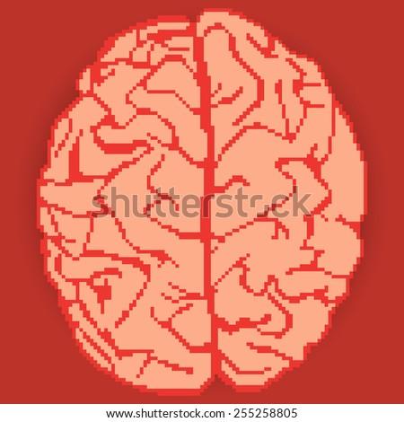 brain pixel art - stock vector