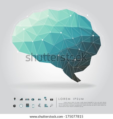 brain polygon with business icon vector - stock vector