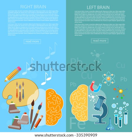 Brain power of the mind left and right hemisphere creativity art and analytical thinking vector banners - stock vector