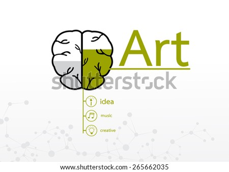 brain right concept. Creative art abstract infographic - stock vector
