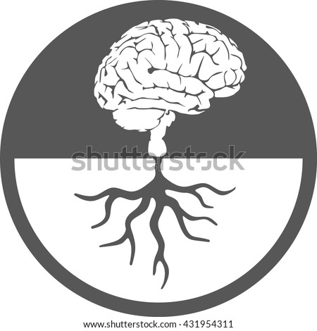 Brain root icon tree knowledge  medical environmental psychological - stock vector