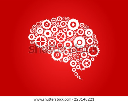 Brain Section Made Of Cogs And Gears - stock vector
