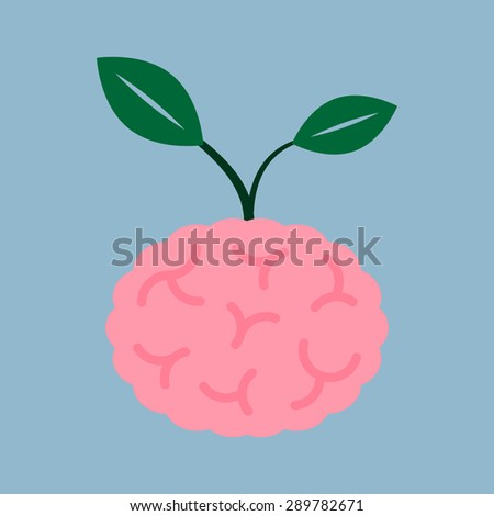 brain seed plant, creative idea concept. vector illustration - stock vector