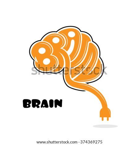 Brain sign,brain logo,mine,creative,learning logo,education logo,school,kids,arts vector logo.Vector illustration - stock vector
