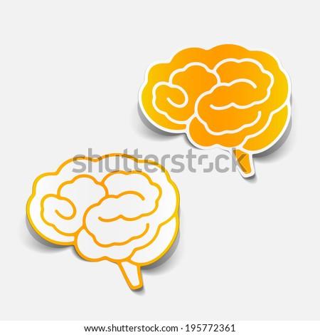 brain sticker, realistic design element - stock vector