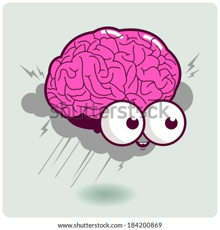 Brain storm cartoon character. Illustration of a cartoon brain thinking hard and creating a brain storm.  - stock vector