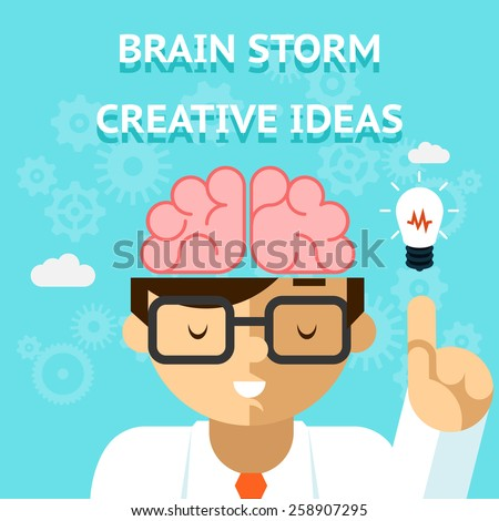 Brain storm creative idea concept. Business and bulb, think and inspiration. Vector illustration - stock vector