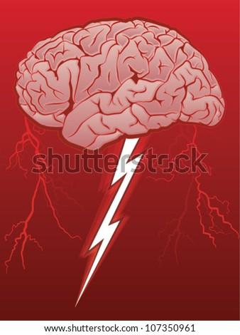 Brain Storm/Human Brain with Lighting Bolt - stock vector