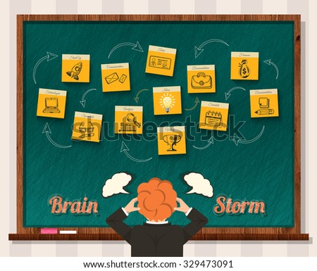 Brain storm. Man and blackboard. Idea business, businessman think, success and solution, head storming, mind and inspiration, start-up. Brainstorm, brainstorming idea, thinking, innovation brain power - stock vector