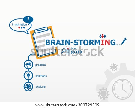 Brain-storming concept and notebook. Hand writing Brain-storming with blue marker - stock vector