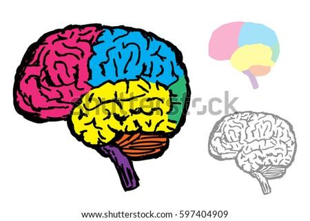 brain symbol doodle vector - Brain Coloring Book