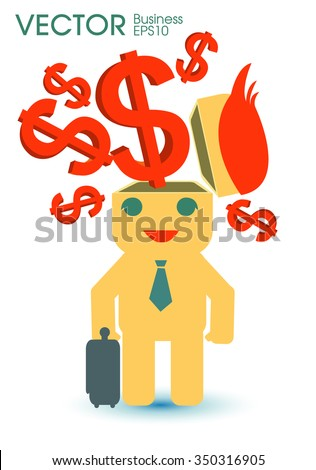 brain thinking about money - stock vector