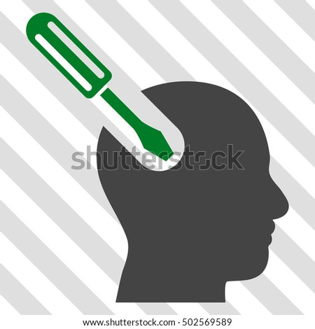 Brain Tool vector icon. Image style is a flat green and gray pictogram symbol on a hatched diagonal transparent background.