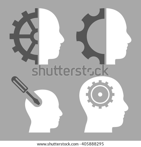 Brain Tools vector icons. Style is bicolor dark gray and white flat symbols on a silver background. - stock vector