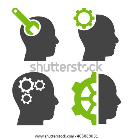 Brain Tools vector icons. Style is bicolor eco green and gray flat symbols on a white background. - stock vector
